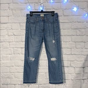 J Crew High Waisted Raw Hem Jeans